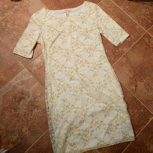 Gold & cream lace dress